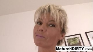 Blonde granny wants a big cock in her hairy pussy