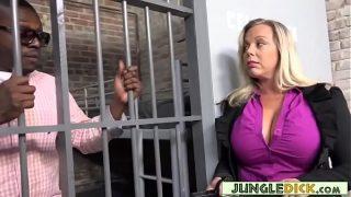 Horny Warden Amber Lynn Bach Fucks A Black Inmate