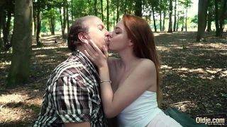 Horny y. hardcore fucked by old man and she gives a wet deepthroat blowjob then takes cumshot in her mouth