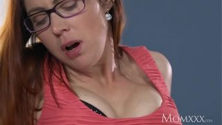 Husband caught wanking is finished off by red head milf in stockings