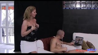 Mature chubby mom catches stepson jerk off and she helps him to unload, she sucks his fingers and gets fucked rough doggy style