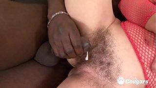 Mature Granny Eva Has Cum Shot All Over Her Fur Burger