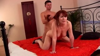 Mature hairy redhead 50plus fucked by younger guy