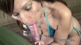 Mature slut Brandi Minx is on her knees and sucking dick