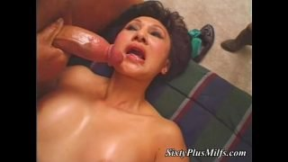 Mouth fucked granny on her knees