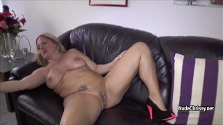 Nude Chrissy catches two men and asks them to fuck her holes