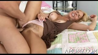 Older babe bounces on knob