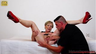 Pussy gaping and hard fucking of big busty Gilf on Mature Gapers